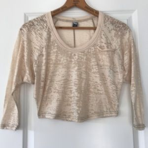 Free People burn out crop top in cream